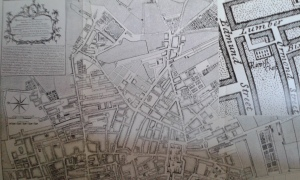 Map of Liverpool, 1765, showing 1.: Parish Church of Our Lady and St Nicholas, 2. and inset: The Romish Chapel
